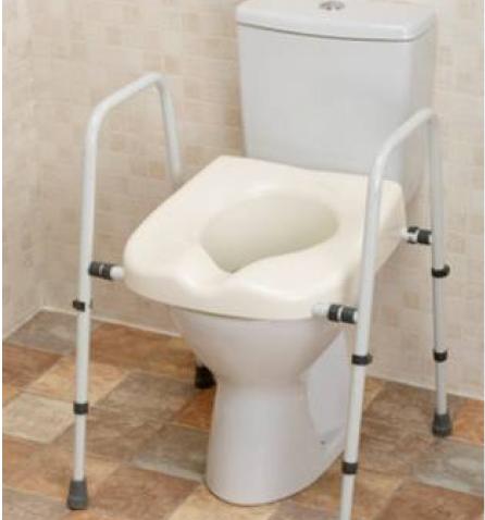 Sedátka WC s podpůrnými rámy a podpůrné rámy k WC